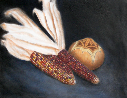 Indian Corn, Oils, 9x12, 2007.