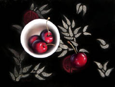 Bowl of Cherries, from Dianna Ponting Workshop, Soft Pastel on La Carte, 9x12, 2006.