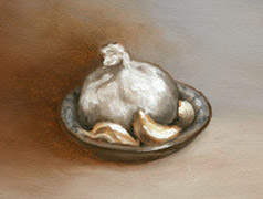 Garlic in a Dish, Oil on Panel, 2007.