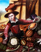 Study of Market Woman with Vegetable Stall, by Pieter Aertsen. 11x14, Oil on Panel, 2008.