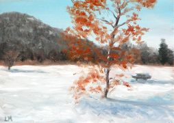Tree in the Snow, Oil on Panel, 2008.