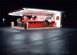 Dinner at the White Turkey, Oil on Panel, 9x12, 2008.