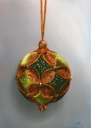 Green and Gold Ball Ornament, Oil on Panel, 2013.