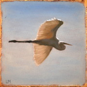 Soaring - Great Egret, Oil on Stone, 2013.